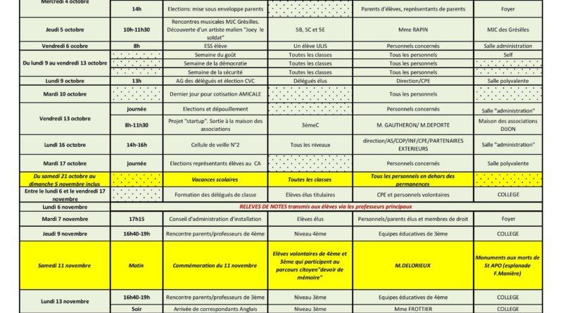 Calendriers Prévisionnel – M.a.j.